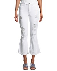 Etienne Marcel Distressed Flare Cropped Denim Jeans White