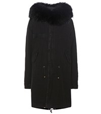 Mr And Mrs Italy Xquili Army Cotton Parka With Fur Trimmed Hood Black