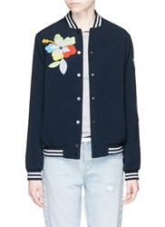Mira Mikati Sequin Floral And Parrot Embroidery Bomber Jacket Blue
