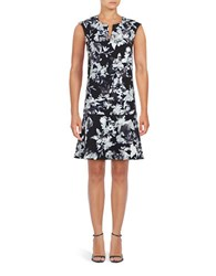 Lord And Taylor Floral Dropped Waist Dress Black