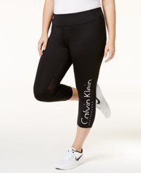 Calvin Klein Performance Plus Size Cropped Logo Leggings Black White Combo
