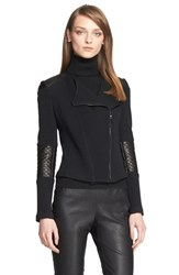 Women's St. John Collection Leather Trim Milano Pique Knit Moto Jacket