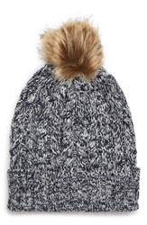 Sole Society Cable Knit Beanie With Faux Fur Pom Blue Navy