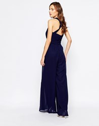 Little Mistress Jumpsuit With Cross Back And Embellished Waist Navy