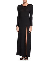 The Row Ethel High Slit Long Dress Black