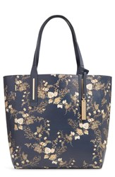 Vince Camuto Fran Reversible Leather Tote Blue Navy Multi