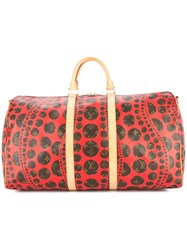 Louis Vuitton Vintage Yayoi Kusama Keepall Bandouliere 55 Travel Bag Brown