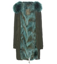 Mr And Mrs Italy Fur Lined Cotton Parka With Fur Trimmed Hood Green
