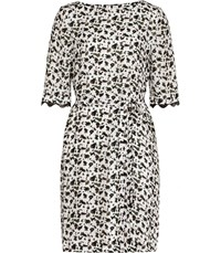 Reiss Noemie Printed Dress In Olive Off White Olive Off White