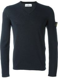 Stone Island V Neck Sweater Blue