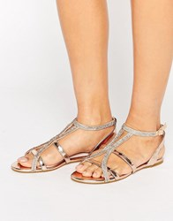 Faith Jimi Rose Gold Embellished Flat Sandals Rose Gold