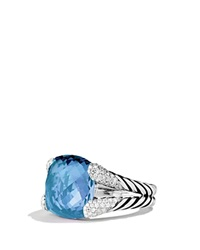 David Yurman Color Cocktail Ring With Blue Topaz And Diamonds Silver Blue