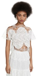 Costarellos Paisley Embroidered Crop Top Off White