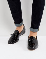 Frank Wright Tassel Loafers In Black Patent Black