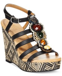 Dolce By Mojo Moxy Corona Platform Wedge Sandals Women's Shoes Black