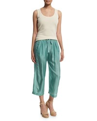 Donna Karan Wide Leg Drawstring Waist Cropped Pants Aquarelle