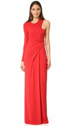 Alexander Wang Asymmetrical Draped One Sleeve Gown Vermillion