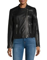 A. Marc Ny Asymmetrical Zip Leather Jacket Black