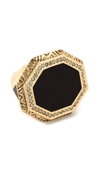 House Of Harlow 1960 Enlightening Octagon Cocktail Ring Black
