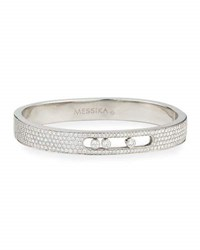 Messika 18K White Gold Small Pave Diamond Bangle