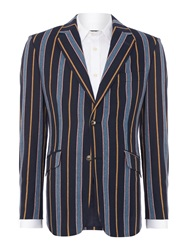 New And Lingwood Rowan Stripe Boating Blazer Blue