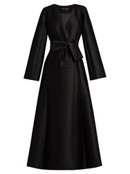 Carl Kapp Dusk Wool Blend Satin Coat Dress Black