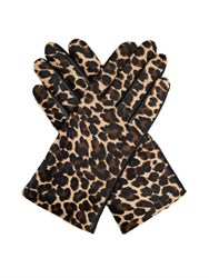 Agnelle Leopard Calf Hair And Leather Gloves