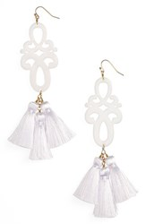 Panacea Scroll And Tassel Earrings White