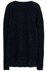 Ellery Paneled Wool Blend Sweater Midnight Blue