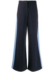 Chinti And Parker Stripe Detail Wide Leg Trousers Blue