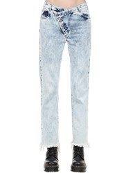 Marques Almeida Cotton Denim Jeans W Overlapping Waist Blue