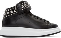 Alexander Mcqueen Black Leather Studded High Top Sneakers