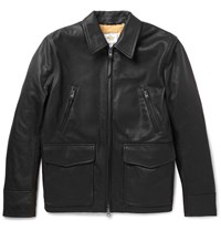 Club Monaco Golden Bear Shearling Lined Leather Jacket Black