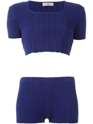 Romeo Gigli Vintage Ribbed Top And Shorts Set Blue