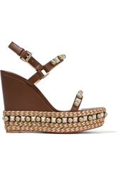 Christian Louboutin Cataconico 120 Embellished Leather Wedge Sandals Brown