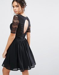 Amy Lynn Short Lace Skater Dress With Open Back Black