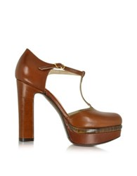 L'autre Chose Brown Leather Platform Pump