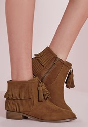 Missguided Tassel Trim Ankle Boots Tan Brown