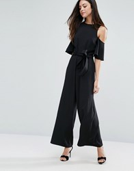Warehouse Cold Shoulder Belted Jumpsuit Black