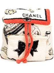 Chanel Vintage Oversized Terrycloth Backpack White