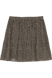 Michael Michael Kors Floral Print Pleated Crepe Mini Skirt