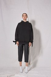 Topshop Tie Sleeve Hoodie By Boutique Washed Black