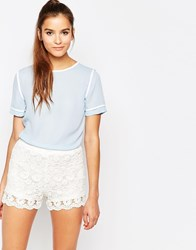 Daisy Street Woven Top With Contrast Trims Blue