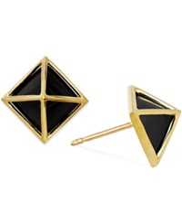 Macy's Onyx Pyramid Stud Earrings In 14K Gold 5Mm Yellow Gold