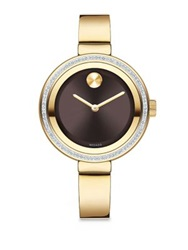 Movado Bold Diamond And Goldtone Ip Stainless Steel Bangle Bracelet Watch Gold Brown