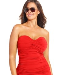 Anne Cole Plus Size Twist Front Tankini Top Women's Swimsuit Red