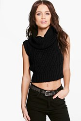 Boohoo Eliza Cowl Neck Cable Knit Sleeveless Knit Black