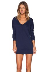 Bobi Light Weight Jersey Long Sleeve Dolman V Neck Tunic Navy