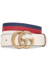 Gucci Striped Canvas And Leather Belt Ivory