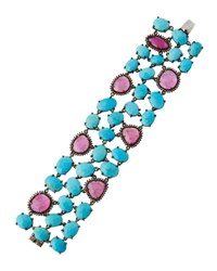 Bavna Turquoise Diamond And Composite Ruby Cuff Bracelet